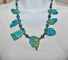 Turquoise Slab Necklace, Imperial Jasper Slab Statement Necklace, Western Cowgirl Jewelry, Chunky Slab Jewelry, Southwestern by Louisefashionjewelry on Etsy