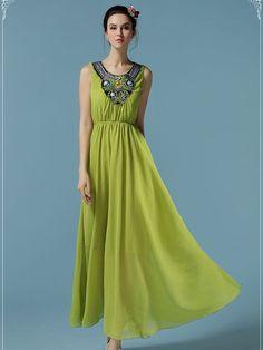 Elegant Beaded Boho Chiffon Maxi Dress