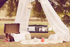 Vintage Garden Picnic - maybe we can use the drapes from Sue for something like this (frame the sofa and two chairs) Vintage Picnic, Vintage Tea, Fresco, Birthday Presents For Men, Vintage Garden Parties, Garden Picnic, Blossom Trees, Throw A Party, Vintage Bridal