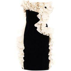 Lanvin Velvet ruffled strapless dress