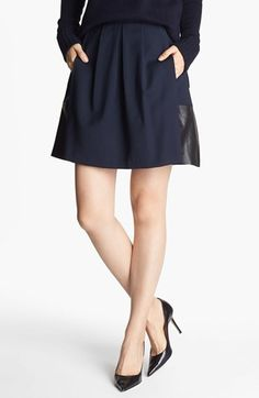 Vince 'Toll' Stretch Wool & Leather Skirt available at #Nordstrom