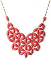 Opaque Stone Bib Daisy Necklace in Red