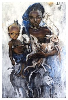 Art by Herakut —- I wonder if the children are wearing the skulls of their animals depicted in the first painting. :/
