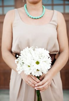 Turquoise Jewelry, Champagne Bridesmaids Dress, Brown Sash, White Daisy Bouquet  Rustic Country Barn Wedding  Cali Ashton Photography: Nashville, TN