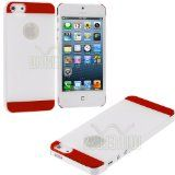 myLife (TM) Red + White Two Tone Series (2 Piece Snap On) Hardshell Plates Case for the iPhone 5/5S (5G) 5th Generation Touch Phone (Clip Fitted Front and Back Solid Cover Case + Rubberized Tough