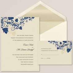 The subtle shimmer cardstock and vine and leaf pattern accent your wedding day details in a way that will be truly unforgettable. From Exclusively Weddings.