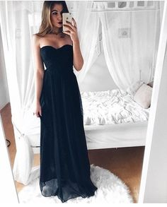 Simple Sweetheart Neck Dark Blue Long Prom Dress Evening Dresses