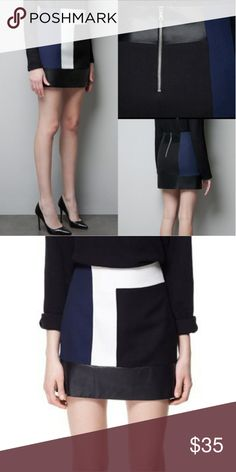 Zara colorblock leather skirt New with tags. Length 16 inches & waist 14 inches. C6 Zara Skirts Mini