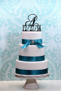 Monogram Wedding Initial Cake Topper with Wedding Date in any letter A B C D E F G H I J K L M N O P Q R S T U V W X Y Z on Etsy, $20.00