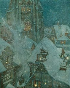 """Edmund Dulac, The Snow Queen Flies Through the Winter's Night. Illustration for """"The Snow Queen: in Seven Stories,"""" Stories from Hans Christian Andersen, 1911 Edmund Dulac, Art And Illustration, Book Illustrations, Fantasy Kunst, Fantasy Art, Charles Perrault, Andersen's Fairy Tales, Fairytale Art, Winter Art"""