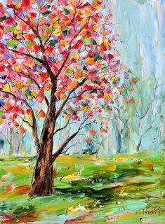 Original oil painting Spring Tree Cherry Blossoms on canvas by Karen Tarlton impressionism impasto Flower palette knife fine art