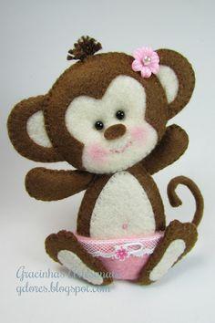 macaquinho feltro (felt monkey)   Gracinhas Artesanato