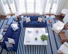 Family room layout ideas Victoria Hagan via Elle Decor Nautical Interior, Nautical Home, Nautical Colors, Coastal Interior, Nautical Design, Nautical Style, Nautical Stripes, Modern Interior, Elle Decor