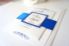 Blue Wedding Invitation - Elegant Wedding Invitation, Simple, Classic, Formal Wedding Invitation, Royal Blue Wedding Invites - SAMPLE SET
