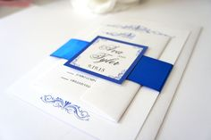 Royal Blue Wedding Invitation, Blue Wedding Invitations, Blue Wedding Invitation Set, Belly Band, Sophisticated, Classy, Formal - DEPOSIT