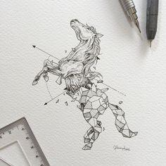 Geometric Beasts | Horse  by kerbyrosanes