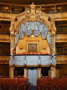 Mariyinskiy Theatre in St. Petersburg: The box of Romanovs family ~~ The Imperial opera and ballet theatre in Saint Petersburg was established in 1783,at the behest of Catherine the Great, although an Italian ballet troupe had performed at the Russian court since the early 18th century. The Mariyinsky Theatre replaced the old building in 1860 and acts now. The theatre in named in honor of Maria, wife of Emperor Alexander II