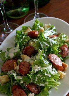 Caesar salad + Johnsonville