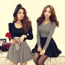 Plus Size moda de nova Plaid mulheres imprimir vestido Casual estilo europeu de mangas compridas o pescoço de mangas compridas Patchwork Mini vestidos(China (Mainland))