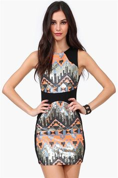 amazing Aztec printed sequined #dress !! $44.99 Get 8% cash back http://www.studentrate.com/itp/get-itp-student-deals/Necessary-Clothing-Student-Discount--/0