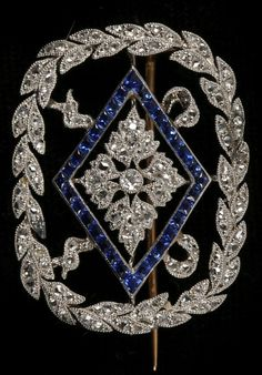 An Edwardian 18ct gold, platinum, diamond and sapphire brooch, early 20th…   Gems Gallery