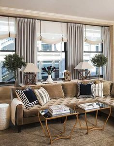 Living Room Sectional And Chairs Window Treatments 47 Ideas Living Room Sectional, Home Living Room, Living Room Designs, Living Spaces, City Living, Tufted Sectional, Interior Design Inspiration, Room Inspiration, Interior Design Portfolios