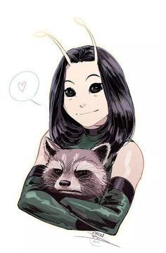 """""""May I pet your puppy?"""" #RocketRacoon #Mantis #marvel"""