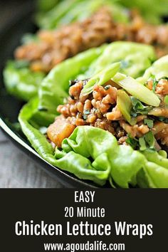 Authentic PF Chang copycat in just 20 minutes aka faster than takeout! Asian flavored ground chicken, mushrooms and water chestnuts nestled in butter lettuce leaves. Quick dinner or easy appetizer for entertaining! Easy Chicken Lettuce Wraps, Asian Lettuce Wraps, Lettuce Wrap Recipes, Ground Turkey Lettuce Wraps, Pf Changs Lettuce Wraps, Healthy Appetizers, Healthy Dinner Recipes, Appetizer Recipes, Diet Recipes