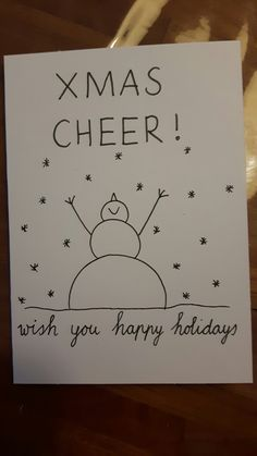 Easy and Fun Christmas Cards for Kids to Make Simple Snowmen - Weihnachten Company Christmas Cards, Simple Christmas Cards, Christmas Doodles, Christmas Card Crafts, Funny Christmas Cards, Christmas Fun, Snowman Crafts, Chrismas Cards, Kids Cards