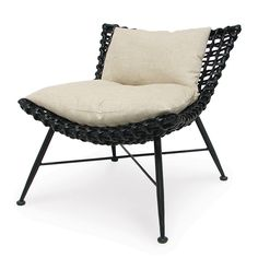 Wide strips of rattan hand woven on an iron frame and finished in a dark brown/black layered finish. Chair has iron legs that are hand forged to form a delicate tapered shape. We offer an optional removable seat and back cushion for added comfort.