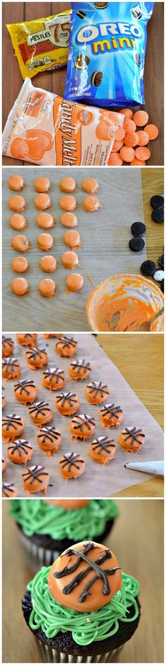 Mini basketball cupcakes are super fun & easy to make! A box mix is topped with mini-cookie basketballs. Great for a party or a basketball tournament party!
