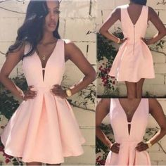 Simple A-line short prom dresses,A-line V-neck homecoming dress,formal dresses,cocktail dresses,Pink Homecoming Dresses