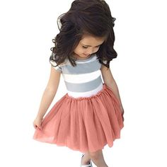 EFINNY Baby Girl Clothes Striped Tulle Skirt Mini Sundress Short Sleeve Tutu Dress 67Y >>> You can find more details by visiting the image link. (This is an affiliate link) #BabyGirlDresses