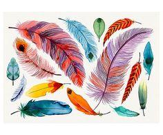 Canvas print Feathers III, multicolour, 50 x 70 cm