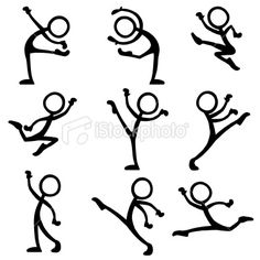 Stickfigure Dance Ballet Royalty Free Stock Vector Art Illustration