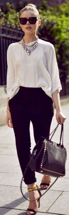 #Summer #Outfits / Long Sleeves White Blouse + Black Pants