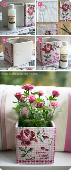DIY Napkin decoupage on flower pots - by Craft & Creativity Decoupage Wood, Napkin Decoupage, Decoupage Tutorial, Ideias Diy, Old Boxes, Pintura Country, Paper Crafts, Arts And Crafts, Diy Box