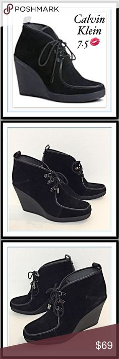"🌟SALE🌟Calvin Klein Suede Wedge Ankle Booties 7.5 Wow. These are such gorgeous suede leather wedge ankle booties by Calvin Klein. Lace up closure with signature silver hardware. Molded wedge heel approx. 4"". Black leather trim. Cushioned footbed. Stunning & in excellent worn once preowned condition   Size 7.5💋💋 Calvin Klein Shoes Ankle Boots & Booties"
