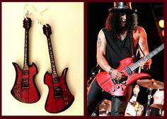 Guitar Earrings inspired by Slash's intrument by nikajon on Etsy