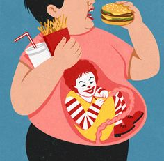 John Holcroft editorial and conceptual illustrator. Illustration about large fast food chains and how childhood obesity is seen as a 'lifeblood' to them