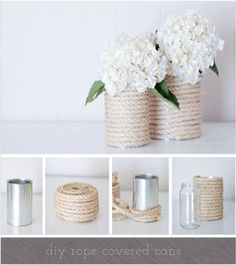 All you need is an empty tin can, paint colors of your choice and you have beautiful decor! Here are some of my favorite DIY tin can wedding decor ideas! Tin Can Crafts, Diy And Crafts, Arts And Crafts, Diys, Rope Crafts, Creation Deco, Diy Wedding, Wedding Ideas, Wedding Blog