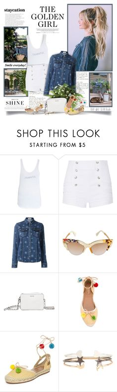 """""""Staycation"""" by thewondersoffashion ❤ liked on Polyvore featuring Levi's, good hYOUman, Pierre Balmain, Valentino, Fendi, Calvin Klein and Aquazzura"""