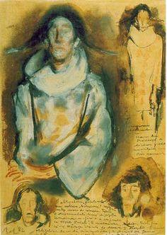 Harlequins by Corneliu Baba. Post-Impressionism. sketch and study