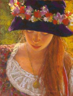 by Rita Kirkman, portrait of a young girl, beautifully rendered in pastels