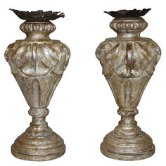 Pair of Early 19th Century Silver Gilt Italian Candlesticks