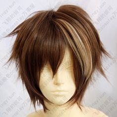 165 Guilty Crown OUMA SHU brown mix short cosplay wig