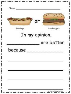 Opinion Writing: Favorite Food - Kindergarten - First Grade - Second Grade - Homeschool - Sherry Clements - $