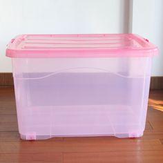 Véritable boîte extra-large de rangement en plastique transparent poulie…