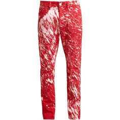 RAF SIMONS Sterling Ruby Paint Splatter Skinny Jeans ($315) ❤ liked on Polyvore featuring men's fashion, men's clothing, men's jeans, jeans, men, mens acid wash skinny jeans, mens super skinny jeans, mens leather jeans, mens patched jeans and mens skinny fit jeans