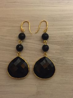 Orecchini in onice onyx earrings di LePietreDiAfrodite su Etsy
